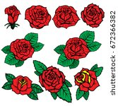 Stock vector set of old school tattoo style roses isolated on white background design elements for poster 672366382