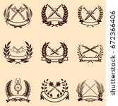 set of emblems with wreaths and ... | Shutterstock .eps vector #672366406