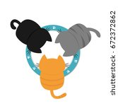 three kittens drinking eating... | Shutterstock .eps vector #672372862