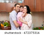 pregnant woman and man in... | Shutterstock . vector #672375316