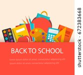back to school concept  flat... | Shutterstock .eps vector #672383668