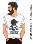 bearded man in white  t shirt... | Shutterstock .eps vector #672396862