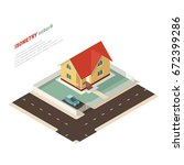 isometric country house and car ... | Shutterstock .eps vector #672399286