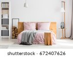 wooden decor spacious bedroom... | Shutterstock . vector #672407626