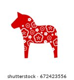 dala horse swedish decoration... | Shutterstock .eps vector #672423556