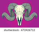 skull of ram with curved horns  | Shutterstock .eps vector #672426712