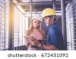 customer and constructor... | Shutterstock . vector #672431092