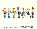 people of different professions ... | Shutterstock .eps vector #672432682