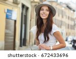 close up fashion woman portrait ... | Shutterstock . vector #672433696