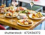 breakfast buffet concept ... | Shutterstock . vector #672436372