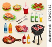 isometric bbq set of elements ... | Shutterstock .eps vector #672437362