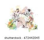 watercolor sketch of boxing...   Shutterstock .eps vector #672442045