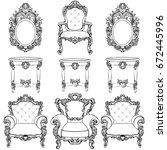 rich imperial baroque rococo... | Shutterstock .eps vector #672445996
