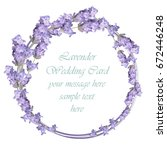 lavender delicate wreath card.... | Shutterstock .eps vector #672446248
