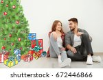young couple thinking about... | Shutterstock . vector #672446866