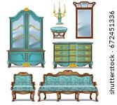 set of vintage upholstered sofa ...