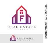 real estate letter f logo design | Shutterstock .eps vector #672454036