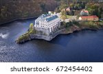 aerial view on czech romantic ... | Shutterstock . vector #672454402