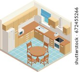 vector isometric kitchen symbol. | Shutterstock .eps vector #672455266