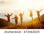 group of five happy friends... | Shutterstock . vector #672462025