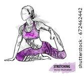 hand sketch of a girl... | Shutterstock .eps vector #672462442