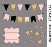 set of golden  black and pink... | Shutterstock .eps vector #672467662