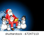 Dark Xmas fairy-tale with Santa Claus Snowman and snowflakes - stock photo