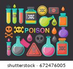 poison vector flat icon set ... | Shutterstock .eps vector #672476005