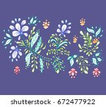 stylized colorful paint doodle... | Shutterstock .eps vector #672477922