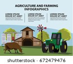 landscape with  farm and... | Shutterstock .eps vector #672479476