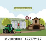 landscape with  farm and... | Shutterstock .eps vector #672479482