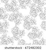 Stock vector seamless background of stylized roses freehand contour drawing vector illustration vintage style 672482302