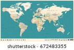 world map vector vintage. high... | Shutterstock .eps vector #672483355