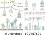 party set of boho decorations ... | Shutterstock .eps vector #672487672