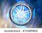 wheel burnout. electric car.... | Shutterstock . vector #672489802