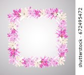 vector square frame with pink... | Shutterstock .eps vector #672495472