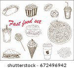 set of different fast food | Shutterstock .eps vector #672496942
