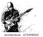 vector sketch of a man with an... | Shutterstock .eps vector #672498565