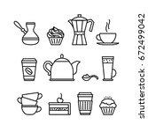 coffee   tea utensils. takeaway ...   Shutterstock .eps vector #672499042