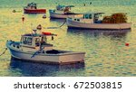 Lobster Boats Moored In The...
