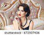 beauty fashion woman model...   Shutterstock . vector #672507436