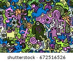 hipster hand drawn crazy doodle ...   Shutterstock .eps vector #672516526