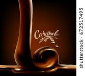 liquid chocolate  caramel or...   Shutterstock .eps vector #672517495