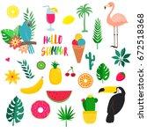 set of summer tropicheskiy... | Shutterstock .eps vector #672518368