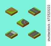 isometric road set of footer ... | Shutterstock .eps vector #672523222
