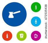 set of 6 beverages icons set...   Shutterstock .eps vector #672535438