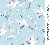 the crane pattern  vector... | Shutterstock .eps vector #672535642
