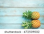 Pineapple On The Blue Wood...