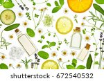 fresh herbs fruits and... | Shutterstock . vector #672540532