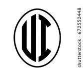 black monogram curved oval...